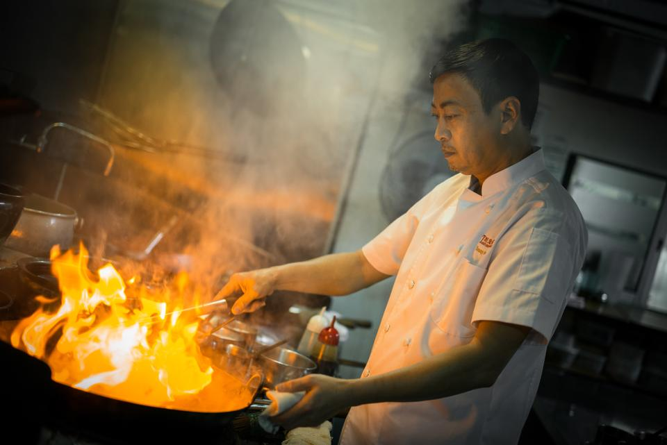 Chef at work, Chinese Chef cooking, Chef Tonny Chan
